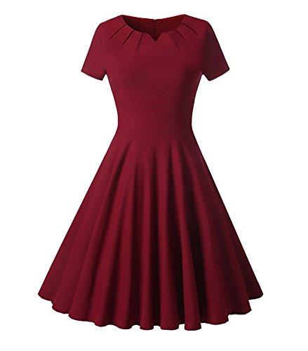 Vestido Mujer Vintage V-cuello Manga Corta Vestidos de Fiesta para bodas cortos elegantes vestido de novia Vino rojo