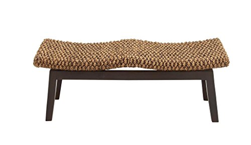 (Deco 79 38403 Lack Teak Wood and Natural Wicker Bench with Scoop Seating, 46