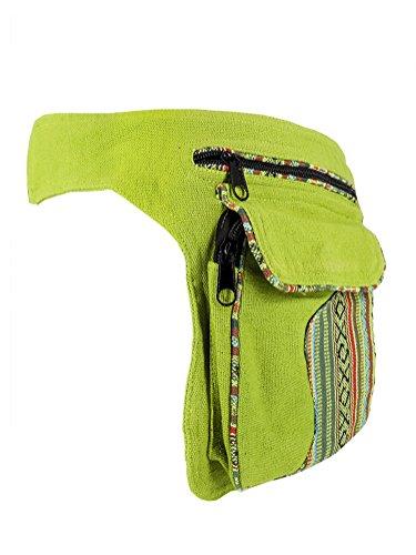 Hüfttasche mit Muster grün - Baumwolle - mit Magnetverschluss
