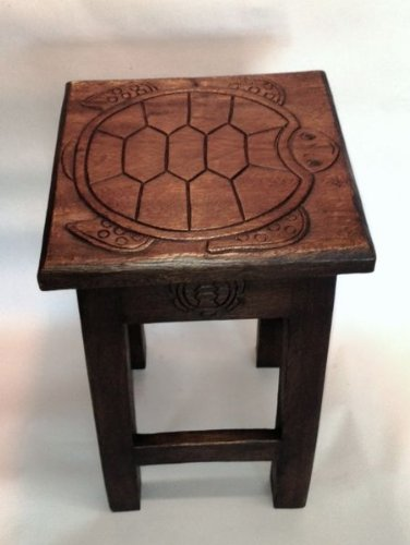 Sea Turtle Hand Carved Wooden Stool/Table by In the Garden and More