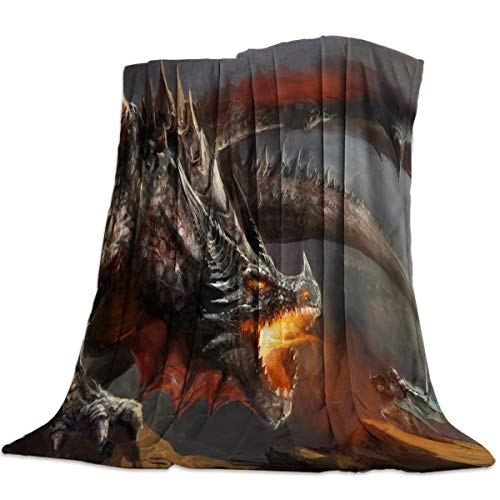 59x79 Inch Flannel Fleece Bed Blanket Soft Throw-Blankets for Girls Boys,Cool Dragon Animal Art Pattern,Cozy Lightweight Blankets for Bedroom Living Room Sofa Couch