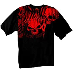 Hot Leathers Black Over the Top Skull Short Sleeve Tee