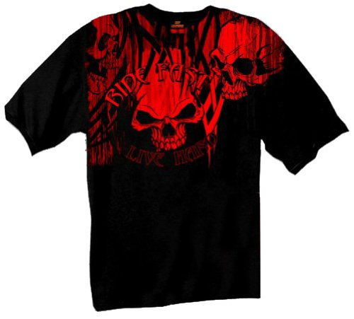 - Hot Leathers Over The Top Skull 100% Cotton Double Sided Printed Biker T-Shirt