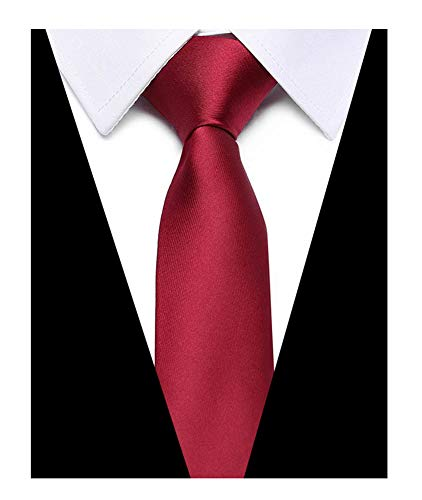Satin Solid Stylish (Men Solid Colored Claret Red Fashion Ties Satin Stylish Narrow Necktie For Groom)