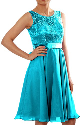 Short Party Cocktail Lace Dress Gown MACloth Bridesmaid Chiffon Formal Turquoise Women qwR5nxCB