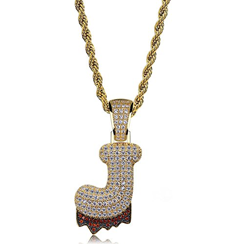 HECHUANG Micropave Simulated Diamond Iced Out Bling Custom Bubble Letters Dripping Initial Pendant with Rope Chain (J Gold, 24) by HECHUANG (Image #1)