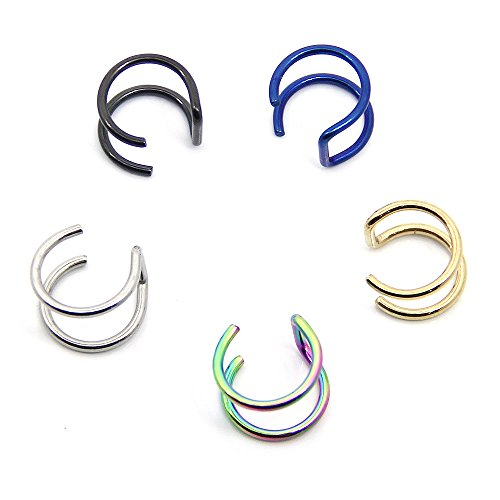 CrazyPiercing 5PCS Piercing Women Girls Men 16G Stainless Steel Non-piercing Fake Lip Nose Ring Clip-on Cartilage Septum Earring Hoop (5 -