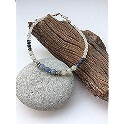 Celestite beaded anklet, Blue Celestite Crystal anklet, White blue gem ankle chain, Moonstone Lapis ankle bracelet, natural Celestite anklet