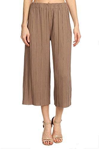 - Anna-Kaci Womens Juniors Pleated Cropped High Waist Palazzo Wide Leg Capri Pants, Yellow, Onesize