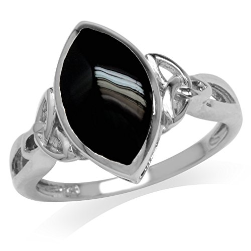 Created Black Onyx White Gold Plated 925 Sterling Silver Triquetra Celtic Knot Ring Size 10