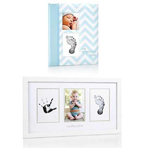 Maven Gifts: Pearhead Chevron Baby Book with Clean-Touch Ink Pad, Blue with Pearhead Baby Prints Photo Frame with Clean-Touch Ink Pad Included, White by Pearhead