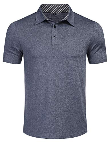 Mens Casual Short Sleeve Striped Collared Lightweight T Shirt Athletic Dry Fit Golf Polos Blue M