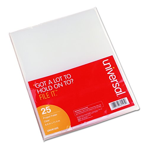 Universal 81525 Project Folders, Jacket, Poly, Letter, Clear (Pack of 25) ()