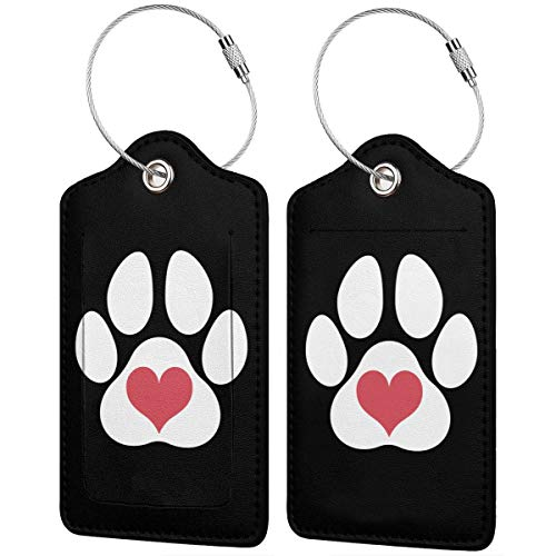 Pawprint-1 Leather Luggage Tags Luggage ID Tags Carry-On Cards Set Of 1.2.4.Pcs