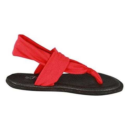 Womens Nieuwe Stijl Mode Yoga-2sling Terug Flip Flop Gladiator Platte String Asorted Sandaal Schoenen Rood
