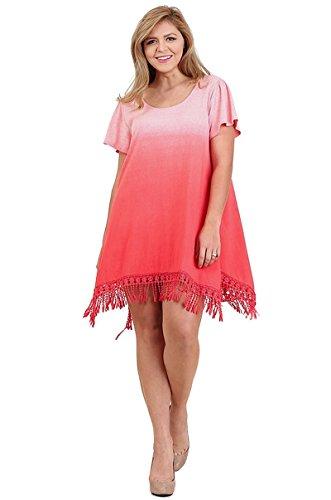 Umgee Bohemian Trapeze Ombre Fringe Dress Plus Size (XL, (Ombre Silk Dress)