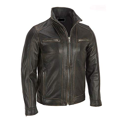Men's Black Rivet Faded Seam Genuine Leather Jacket (Small)
