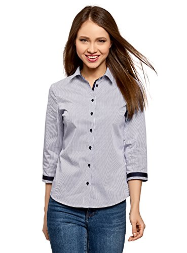 oodji Ultra Womens 3/4 Sleeve Blouse with Contrast Details