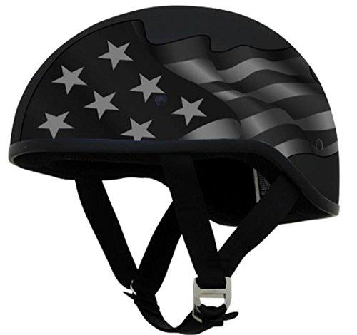 ult Half-Size-Helmet-Style Slick Beanie-Style Half Helmet (S Flag Stealth, Medium) (Afx Beanie Half Helmet)
