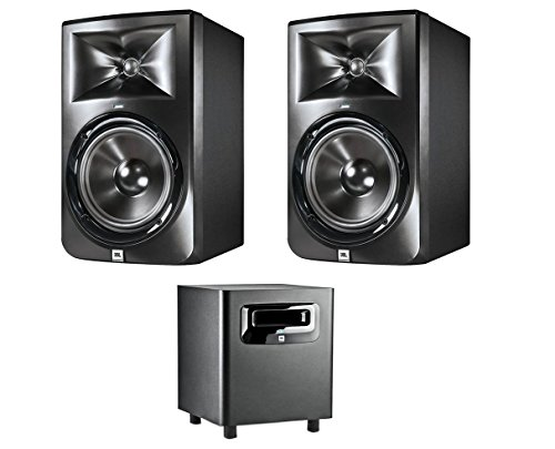 JBL LSR308 8-inch Two-Way Powered Studio Monitors (PAIR) w/ 1 JBL LSR310S (Two Way Active Nearfield Studio)