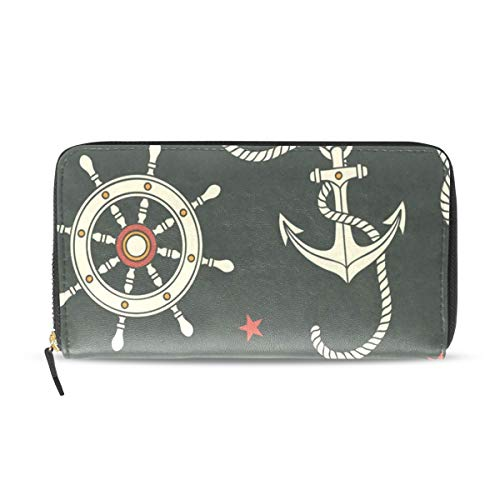 Womens Wallets Helm Rope Anchor Leather Passport Wallet Coin Purse Girls Handbags