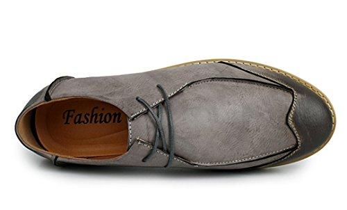 Tda Mens Moda Confortevole Lace Up In Pelle Antiscivolo Scarpe Da Lavoro Casual Business Grigio