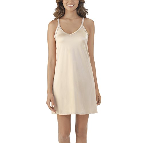 Reversible Skirt Spandex (Vanity Fair Women's Plus Size Spinslip 10158, Damask Neutral, 34 Bust (18