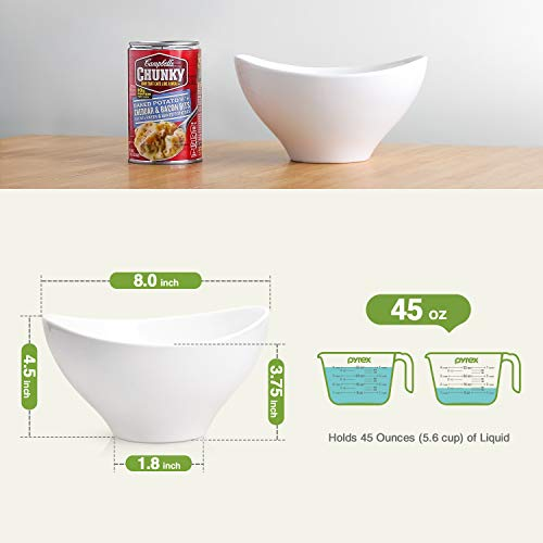 DOWAN 1.4-Quart Porcelain Serving Bowl Set, Party Snack or Salad Bowls, Set of 2, White by DOWAN (Image #1)
