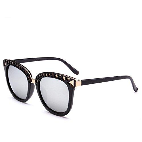 Wkaijc Persönlichkeit Große Kiste Retro Mode Straße Schießen Trend Männer Und Frauen Sonnenbrillen Sonnenbrillen,A