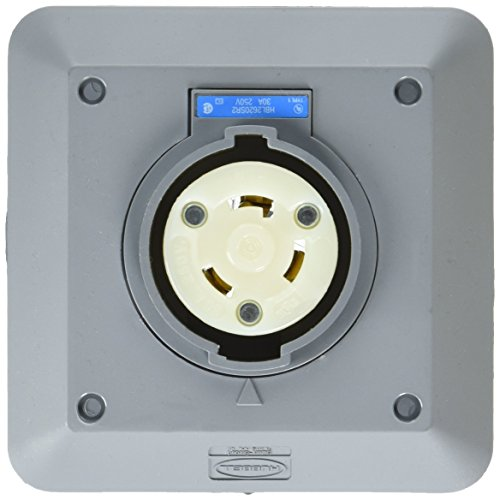 Hubbell HBL2620SR2 Locking Safety Shroud Receptacle, L6-30R, 2 Gang Surface Mount, Gray (Nema 6 30r Receptacle)