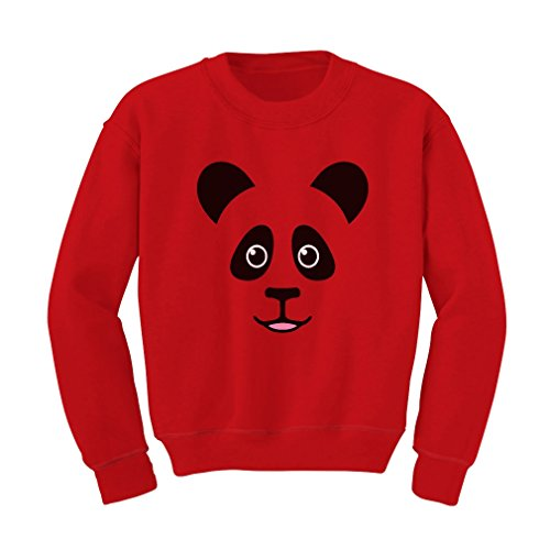 TeeStars - Cute Panda Bear Face - Best Gift for Panda Lovers Kids Sweatshirt Small Red (Jumper The Xmas Save Children)