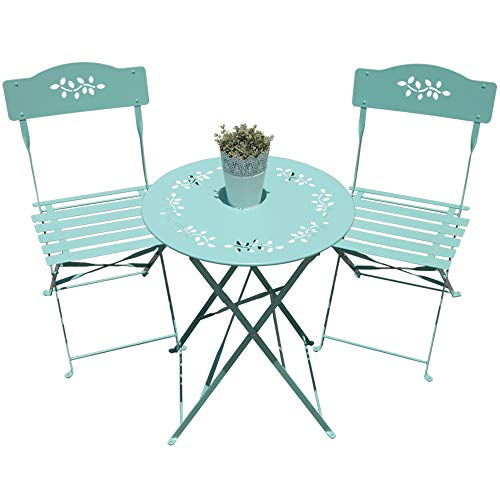 Orange Casual 3-Piece Folding Bistro Set Steel Patio Dining Table and Chair Sets Garden Backyard Outdoor Furniture