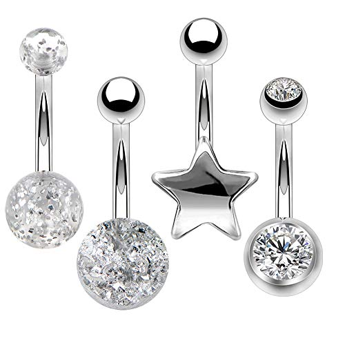 OUFER 4 PCS 14G Stainless Steel Navel Rings Silver Druzy with Star Belly Button Rings Belly Piercing