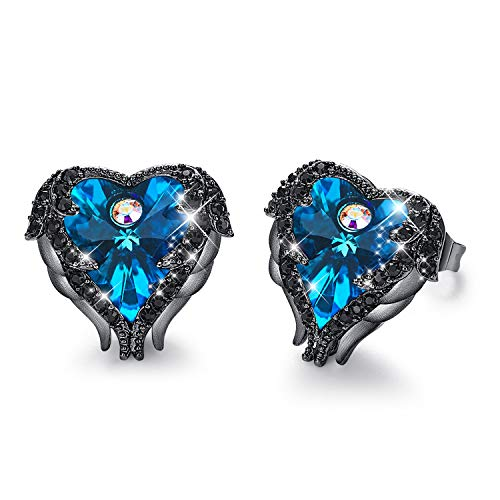 - CDE Dark Blue Studs Earring Heart of Ocean Embellished with Crystals from Swarovski Earrings Hypoallergenic & Nickel Free, Gift for Mother Day