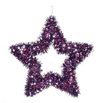 Patriotic Tinsel Star Garland Wreath Red White And Silver 20 Inch ()
