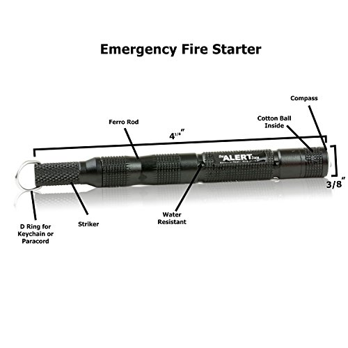 Emergency Fire Starter Ferro Rod and Steel with Compass and Cotton Ball with gift box for survival