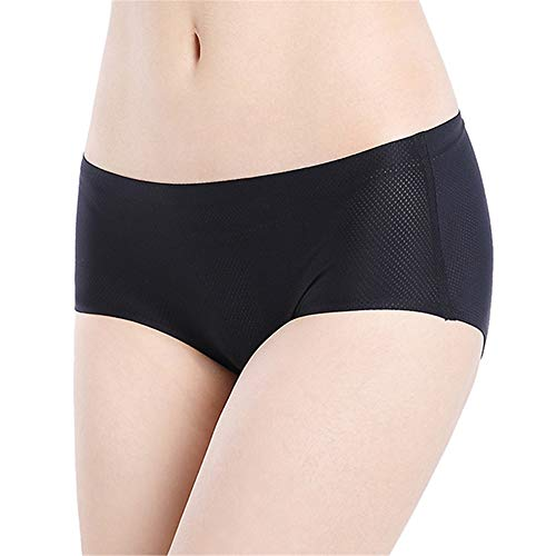 Womens Underwear Seamless 3 Pack, No Show Panties for Women Mid-Rise Hipster Panties Full Coverage no VPL Brief (X-Large,Black)