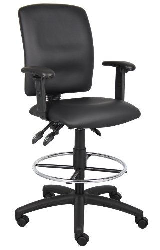 Boss Office Products B1646 Multi-Function LeatherPlus Drafting Stool with Adjustable Arms in Black - High Back Drafting Stools
