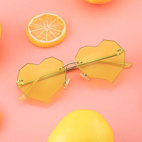 Corazón Mujer Marco Claro Con Remaches Sin Anteojos Sol Plano Diseño Gafas de Transparente Dorado Lentes Amarillo 0wqIBRtvx