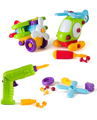 Build and Play Take-A-Part Toys Vehicle Set, Includes Power Tool Drill for Kids, 46 Take Apart Pieces, Create and Play Construction Vehicles with Tools, Building Play Set For Boys Girls Toddlers