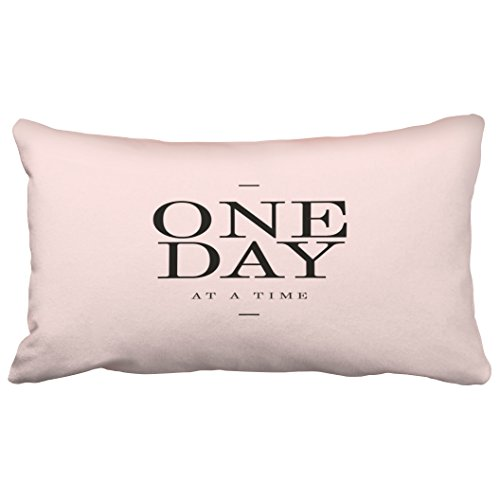 Emvency Decorative Throw Pillow Covers One Day Perseverance Quote Blush Pink Cushions Christmas New Year King 20x36 Inches(51x92cm) One Side Pillow Case Cover Cases Cushion Protectors Decor Sofa (Dahlia Pink Blush)