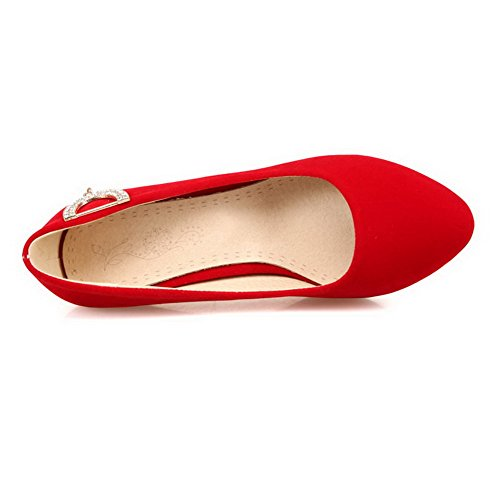 Amoonyfashion Mujer-close-toe Kitten-heels Frosted Solid Pull-on Bombas-zapatos Rojo