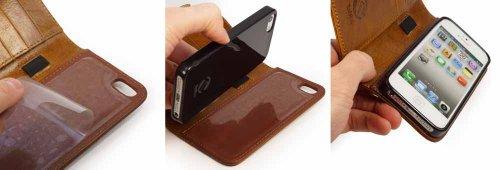 """Tuff-Luv Étui housse style Portefeuille en cuir Vintage """"Magic Grip"""" pour Apple iPhone 5s / SE (inclut filme de protection) - Marron"""