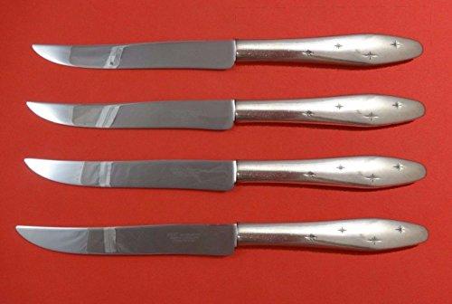 Dawn Star by Wallace Sterling Silver Steak Knife Set 4pc Texas Sized Custom - Wallace Dawn Star