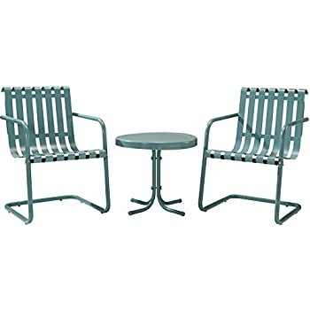 Crosley Furniture Gracie 3 Piece Retro Metal Outdoor Conversation Set With  Side Table And 2