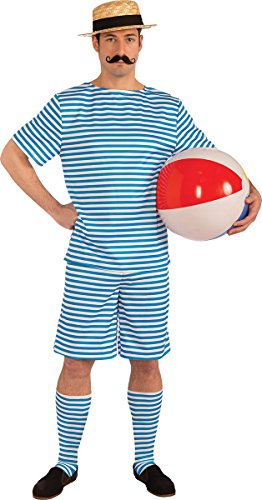 Beachside Clyde Adult Costumes (Men's Pageants Striped Roaring 1920's Fancy Dress Party Beachside Clyde Costume)