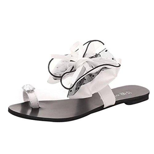 Transer® Damen Toepost Flach Slipper Schwarz Grau Weiß Kunstleder+Gummi mit Groß Bowknot Mode Rhinestone Outdoor Hausschuhe Weiß