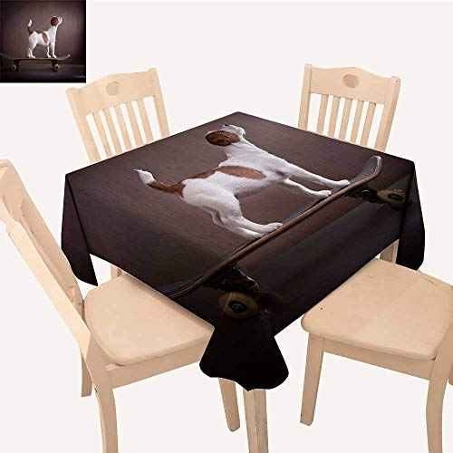 UHOO2018 Square/Rectangle Indoor and Outdoor Tablecloth Jack Russell Terrier on a skateboar Restaurant Party,23 x 24inch
