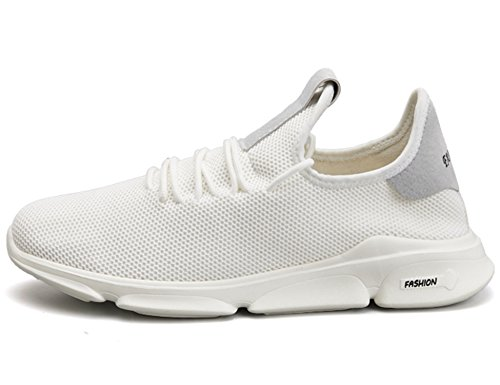 GNEDIAE Chaussures de Course Running Sport Compétition Trail entraînement Homme Basket Sneakers Outdoor Running Sports Fitness Gym Shoes 39-45 C05 Blanc vwpT6stMb