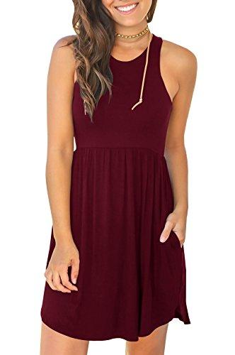 Ofenbuy Womens Flowy Tank Dress Casaul Summer Sleeveless Empire Waist Swing Mini Dresses Empire Waist Tank Dress